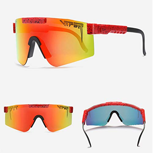RSTT Gafas de sol deportivas Pit Toxamer, supergrandes, polarizadas, marco TR90, lente azul, espejo circular, caja original