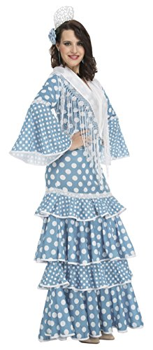 My Other Me Me-204950 Disfraz de flamenca Huelva para mujer, color turquesa, XL (Viving Costumes 204950)