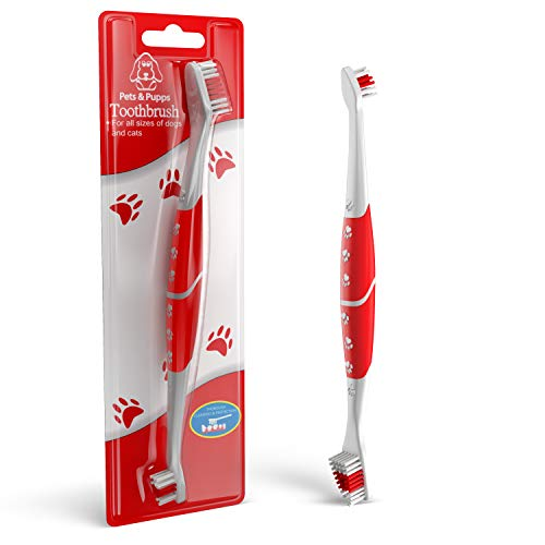 Pets amp Pupps Pet Toothbrush for Dogs Oral Hygiene Dual Head Dog Toothbrush with Soft bristles AntiSlip Cat Toothbrush