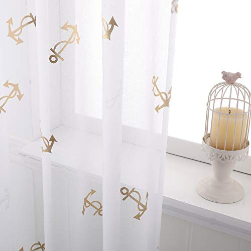 Taisier Home Nautical Style Anchor Print Curtains -White Sheer Curtains 63 Inch Length Metallic Gold Anchor Design Grommet Window Curtains for Kids Room, 52 x 63 Inch, 2 Panels