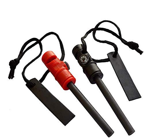 GCOA 2 PCS Iniciador de Fuego - Herramienta multifunción de Supervivencia 3 en 1 - Barra de Arranque de magnesio, brújula magnética y Silbato de Emergencia para Acampar al Aire Libre Kits