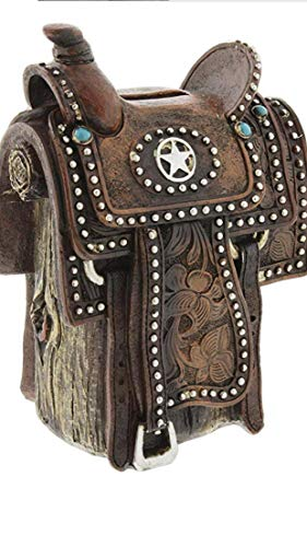 Colors of Rainbow Western Rustic Texas Cowboy Cowgirl Hand Tooled Lone Star Saddle Piggy Bank Hand Painted Decoration