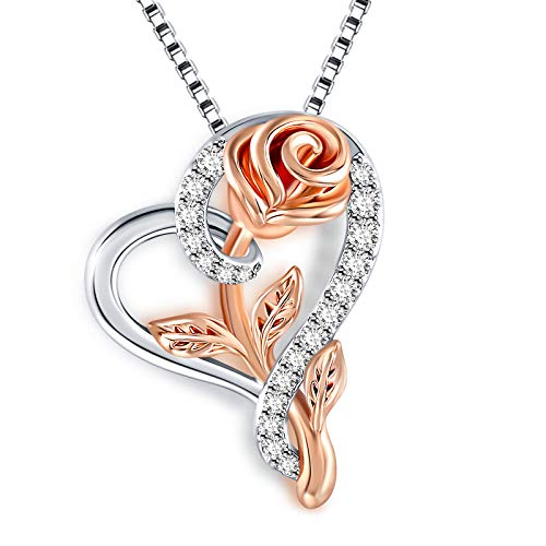 SNZM Heart Necklace Rose Flower Pendent Necklace for Women, Jewelry Gift for Mom Girlfriend Wife