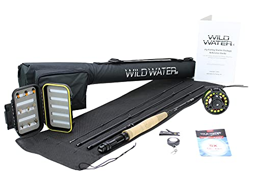 Wild Water Fly Fishing 7 Foot, 4-Piece, 3/4 Weight Fly Rod Complete Fly Fishing Rod and Reel Combo Starter Package
