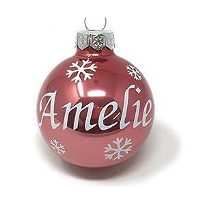 Weihnachtskugel mit Name aus Glas 6cm Wunschtext Altrosa Glänzend
