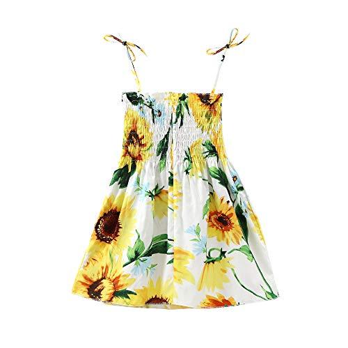 Leepesx Halfter Sonnenblumenkleid für Mädchen Baby Mädchen Blumen Sommerkleid Elastic Strap Print Strandkleider Lässig für Kleinkinder Kinder Kinder 2-7 Jahre alt