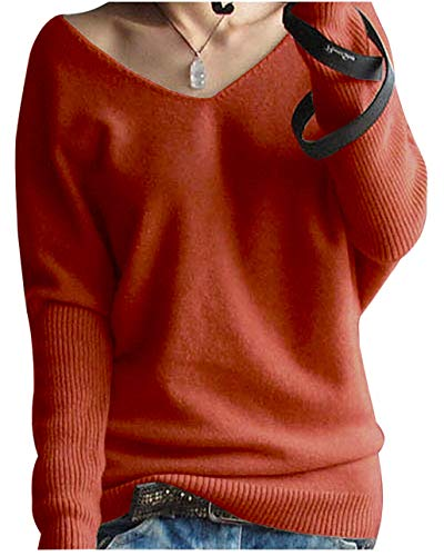 LinyXin Cashmere Damen Winter Kaschmir übergroße Pullover lose V-Neck Fledermausärmel Warm gestrickter Oversize Pullover aus Wolle (S / 38-44, Rost rot)