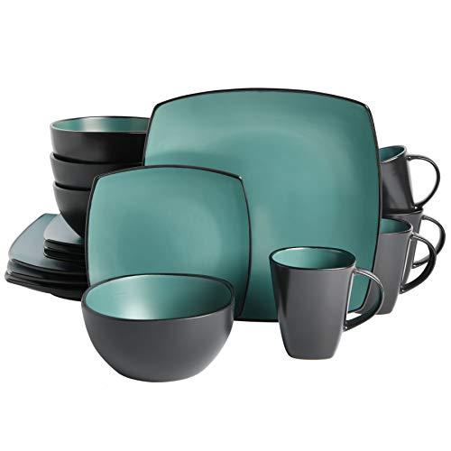 Gibson Elite Soho Lounge Reactive Glaze Stoneware Dinnerware Sets Service for 4 16pcs Jade