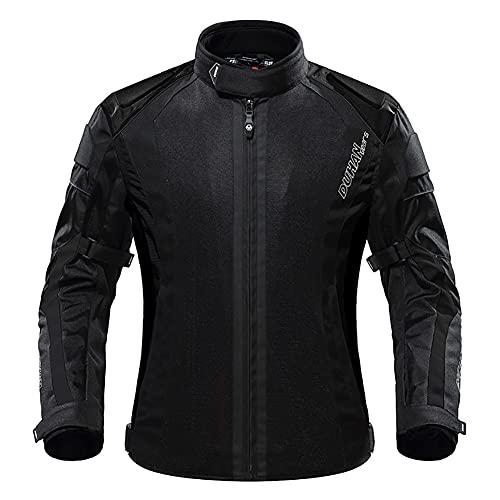 LITI Chaqueta De Motocicleta De Moto para Hombre Respirable, CE Armadura Protección, Reflexión De Alto Brillo, para Verano Primavera Otoño Toda Estaciòn