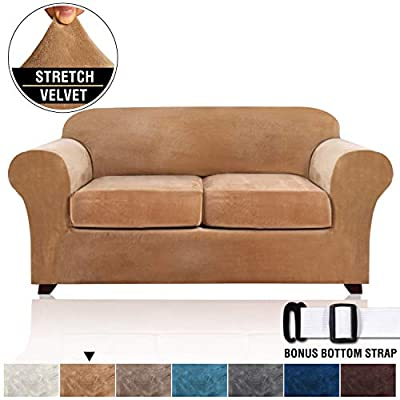 Velvet Stretch 3 Piece Loveseat Covers for 2 Cushion Couch Loveseat Slipcovers (Base Cover and 2 Individual Seat Cushion Covers) Thick Sofa Covers Bonus Two Elastic Straps (Loveseat, Camel)