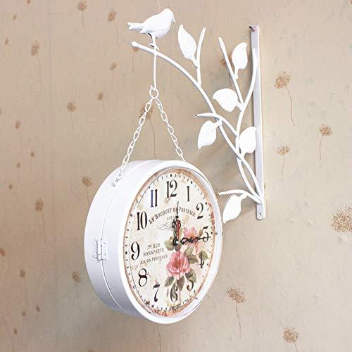shabby orologio da parete LIUXIAOJIE Nuovi Orologi da Parete Caldi e Orologi Moderni Stile Antico Decorazione della casa Doppio Lato Uccello Orologio al Quarzo Ferro Shabby Chic