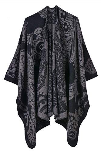 YACUN Damen Offener Poncho Schal Winter Reversible überdimensioniert Decke Quaste Cape Schals Schwarzgrau One Size
