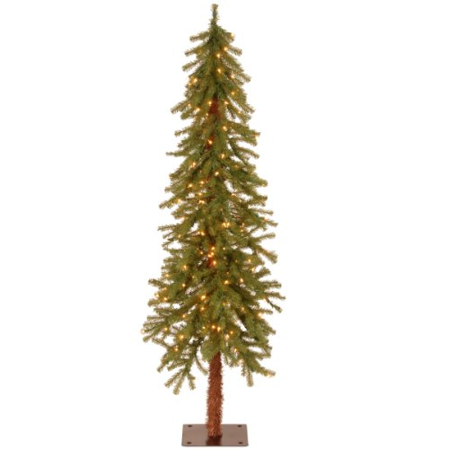 National Tree Company lit Artificial Christmas Tree Includes Pre-strung White Lights and Stand, Hickory Cedar Slim-5 ft