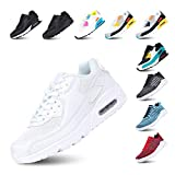 Zapatillas de Running para Hombre Mujer Ligero Correr Air Atléticos Sneakers Comodos Fitness Deportes Calzado Blanco 43