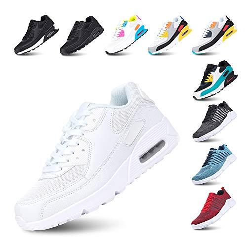 Laufschuhe Herren Damen Turnschuhe Licht Dämpfung Air Sportschuhe rutschfest Atmungsaktiv Fitness Sneakers E-Weiß 40