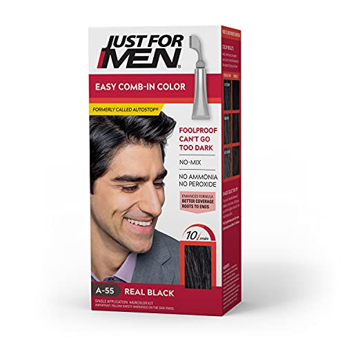 Just For Men Easy Comb-In Color (Formerly Autostop), Gray Hair Coloring for Men with Comb Applicator Included, Easy No Mix Application - Real Black, A-55 (Packaging May Vary)