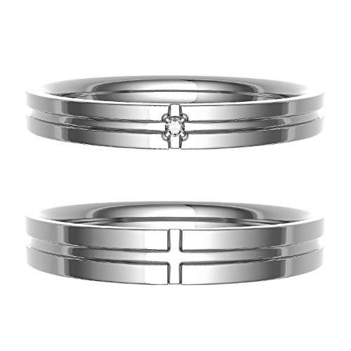 [ココカル]cococaru ペアリング 結婚指輪 シルバー 2本セット マリッジリング ダイヤモンド 日本製(レディースサイズ4号 メンズサイズ5号)