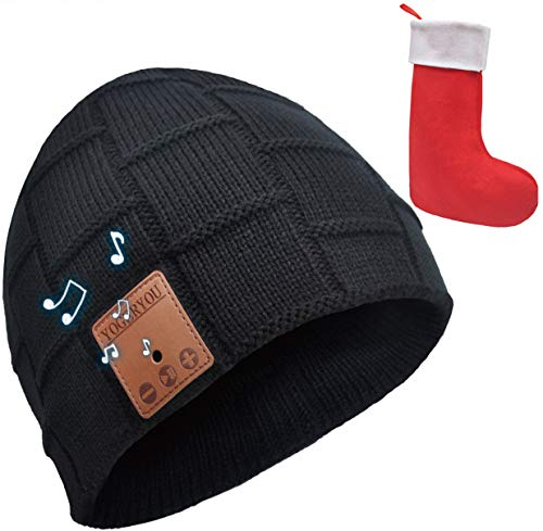 YogerYou Bluetooth Beanie Hat Headphones Winter Knit Hat Gifts for Men Women Black