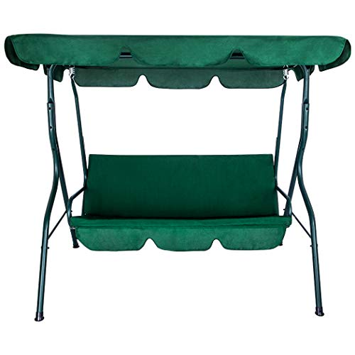 Hahepo Garden Swing Chair 3 Seater Swing firm lounge chair Outdoor sunshade chair with canopy Padded Cushions for Outdoor Terrace Swimming Pool Leisure Children Adult (green)