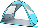 MOVTOTOP Beach Tent 【2021 Newest】, Large Pop up Beach Tent for 4 People, Anti-UV Automatic Beach Tent Sun Shelter Instant Portable, 4 Sides Ventilation Design Sun Shelter Tents, Suitable for Family