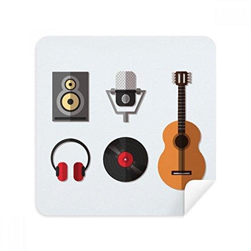 Gitaar Headset CD Microfoon Muziek Patroon Bril Schoonmaken Doek Telefoon Scherm Cleaner Suede Stof 2 stks