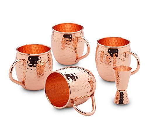 ECHTWERK Juego de 5 vasos de cobre Moscow Mule, fabricados en acero...