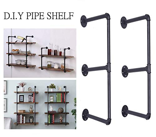 Topower DIY - Estantería de pared para estantería, 3 estantes, color negro
