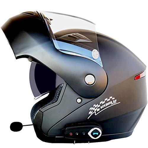 AZCX Bluetooth Integrado Casco de Motocicleta Modular ECE 22.05 certificación Dot Seguridad estándar-Full Face Racing Casco General de la Motocicleta,A,XXL(63~64cm)
