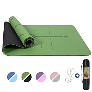 """Yoga Mat Non Slip, Pilates Fitness Mats with Alignment Marks, Eco Friendly, Anti-Tear Yoga Mats for Women, 1/4"""" Exercise Mats for Home Workout with Carrying Strap & Storage Bag from UMINEUX"""