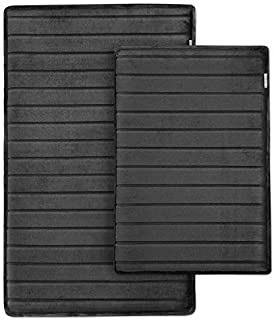 MICRODRY Extra-Thick, SoftLux, Charcoal Infused Memory Foam Bath Mat with GripTex Skid-Resistant Base, 2-Piece Set, Black