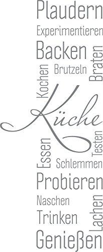 GRAZDesign Wandtattoo Küche Plaudern Backen Genießen -Banner Wand-Worte für Esszimmer Restaurant Wand-Deko (122x50cm//074 Mittelgrau)