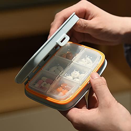 Caja de píldoras portátiles de 2 Piezas, pequeña Caja de Pastillas, Mini Caja de píldora Dividida, píldora portátil, Caja de Medicina de Pastillas, Caja de (1 * Azul 6 grillas + 1 * Pink 4 grillas)