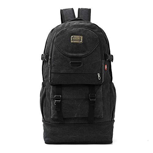 Sac Randonnee Yuan Ou Outdoor Men Backpack Canvas Expansion Bag Large Travel Hiking Camping Rucksack 61x35x20cm Black