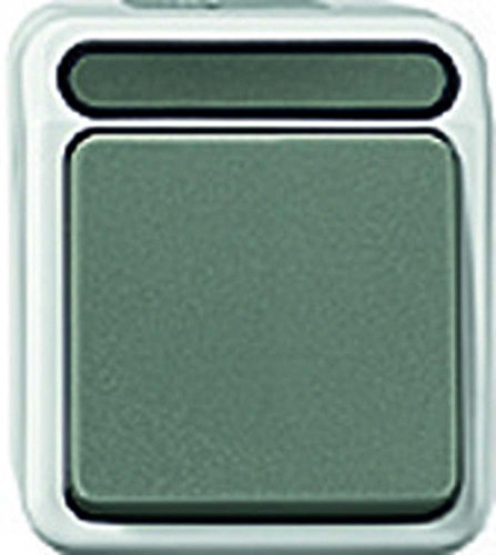 Merten MEG3156-8029 1polig Taster mit N-Klemme, Wechsel 1-polig, lichtgrau, AQUASTAR