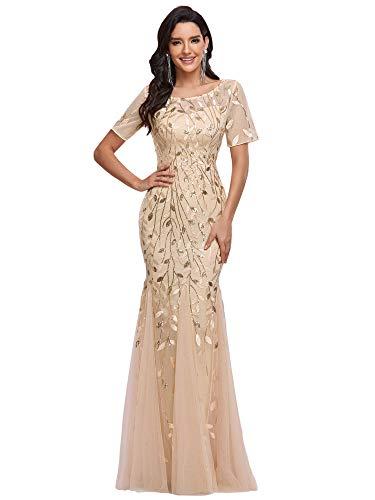 Ever-Pretty Damen Abendkleid Meerjungfrau Pailletten Tüll Partykleid Kurze Ärmel lang Gold 36