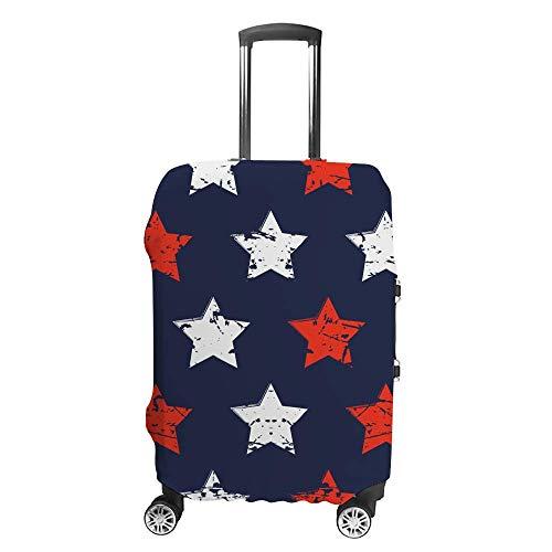 Funda de equipaje gruesa lavable a mano, diseño de estrellas, color azul, rojo, blanco, fibra de poliéster, elástica, plegable, ligera, protector de maleta de viaje