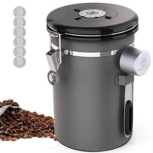 Coffee Canister,Stainless Steel Food Storage Coffee Container,Airtight Fresher Beans and Grounds for Longer,CO2-Release Valve with Date Tracker and extra Coffee Spoon,22oz(Grey)