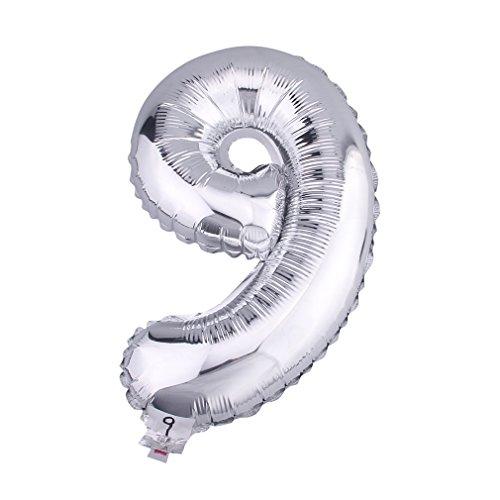 Bigood Ballon Gonflable Chiffre DIY Décoration Maison Fête Noël Anniversaire Argenté 40cm Style 10
