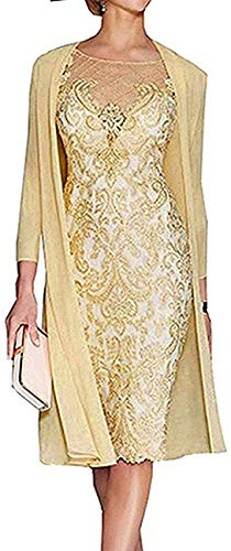 Lace Chiffon Mother of The Bride Dresses with Jacket Tea Length Two Pieces Wedding Gowns 2021 Yellow Size 12