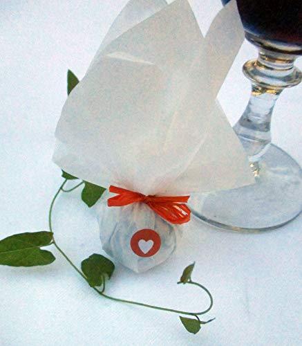 Die Seedball-Manufaktur, Mandarine Seedball Gastgeschenk mit Herz, Weißes Seidenpapier mit orangefarbener Basschleife, 2,5 x 2,5 x 6 cm