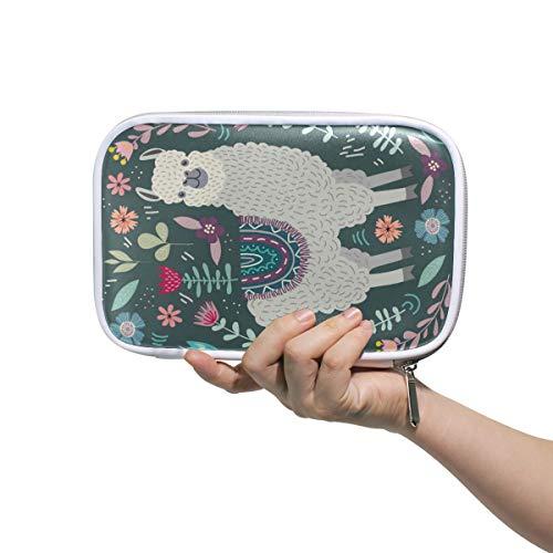 Cute Alpaca Llama Floral Pencil Case Pen Bag Pouch Stationary Box Hand Bag, Pink Blue Flower Travel Makeup Cosmetic Bag Passport Holder Storage for Women