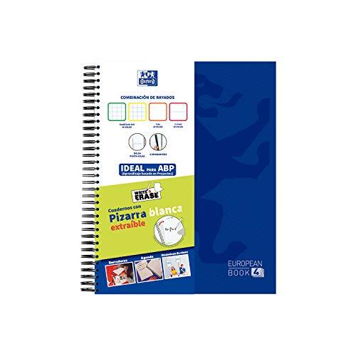 Oxford WriteErase - Cuaderno Microperforado con Pizarra Blanca Extraíble, Tapa Extradura, A4+, 120 Hojas Multirayado
