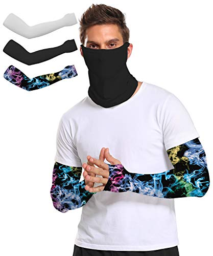 UV Protection Cooling Arm Sleeves - UPF 50+ Colorful Arm Sleeves for Men/Women/Students for Sports,3 Pairs (43139-4, Adult XS)