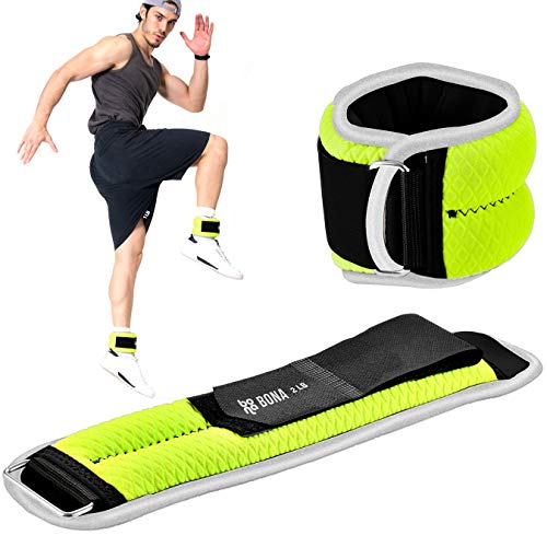 Bona Fitness Adjustable Ankle Weights with Reflective Trim/2-5lbs (1 Pair) Durable Ankle Weights Set with Strap/Best for Walking, Jogging, Gymnastics Arm Leg Weights (Green 4lb Pair)