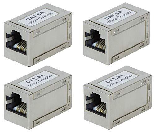 Faconet® 4 Stück CAT 6A LAN Kupplung RJ45 Verbinder Adapter POE Patchkabel Verlängerung LAN Kabel CAT7 geschirmt schlanke kleine Version 10 Gigabit