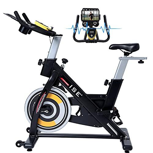 ISE Bicicletta con Volano 15 KG, Cyclette Ergonomica con Sensore Integrato, Sella e Manubrio Regolabile, LCD Schermo, Porta Celullare, Ruote di Trasporto, Max.120 KG, SY-7909