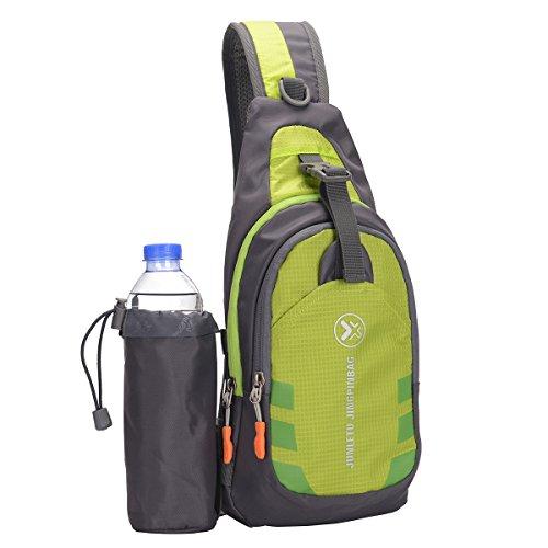 Lurrose Sac à dos à bandoulière imperméable résistant à l'usure avec porte-bouteille d'eau amovible pour le sport, la randonnée, les voyages (vert), Vert, S,