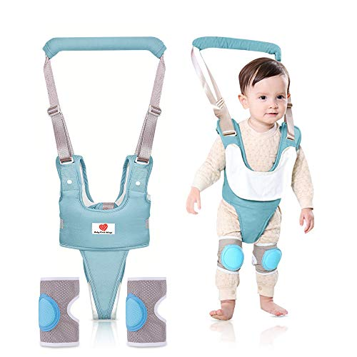 Baby Walking Harness Assistance, Adjustable Walker with Knee Pads & Separable Bib for Toddlers, Multifunction Helper Stand Up Walking & Learning Babies to Walk with Safety 8-24 Months-Light Green.