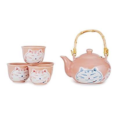 Hinomaru Collection Japanese Twin Neko Cat Kitten Design Tea Set Ceramic Teapot with Strainer, Rattan Handle and 4 Tea Cups