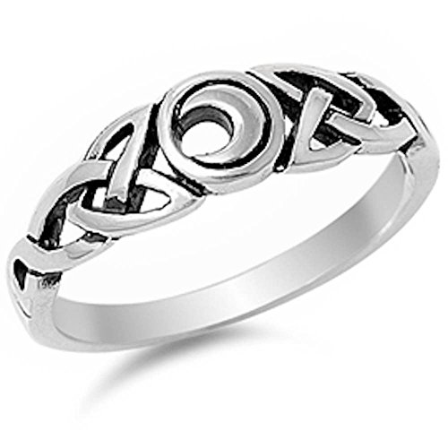 Stylish Silver Celtic Moon .925 Sterling Silver Ring Size 6